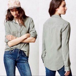 Anthropologie | Cloth & Stone Green Button Down L